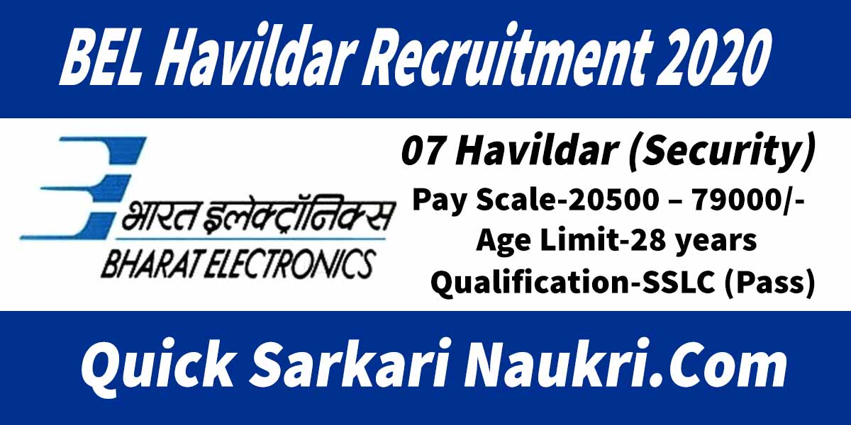 BEL Havildar Recruitment 2020