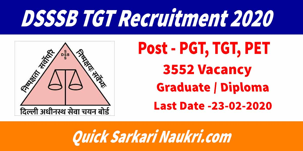 DSSSB TGT Recruitment 2020