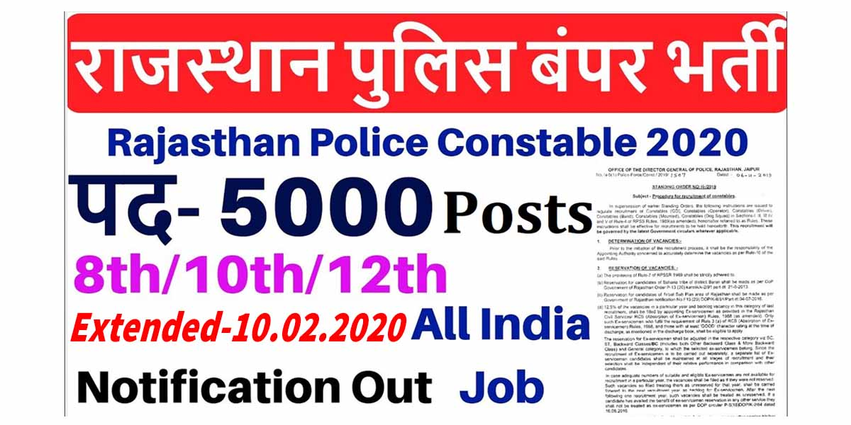 Rajasthan Police Constable Recruitment 2019