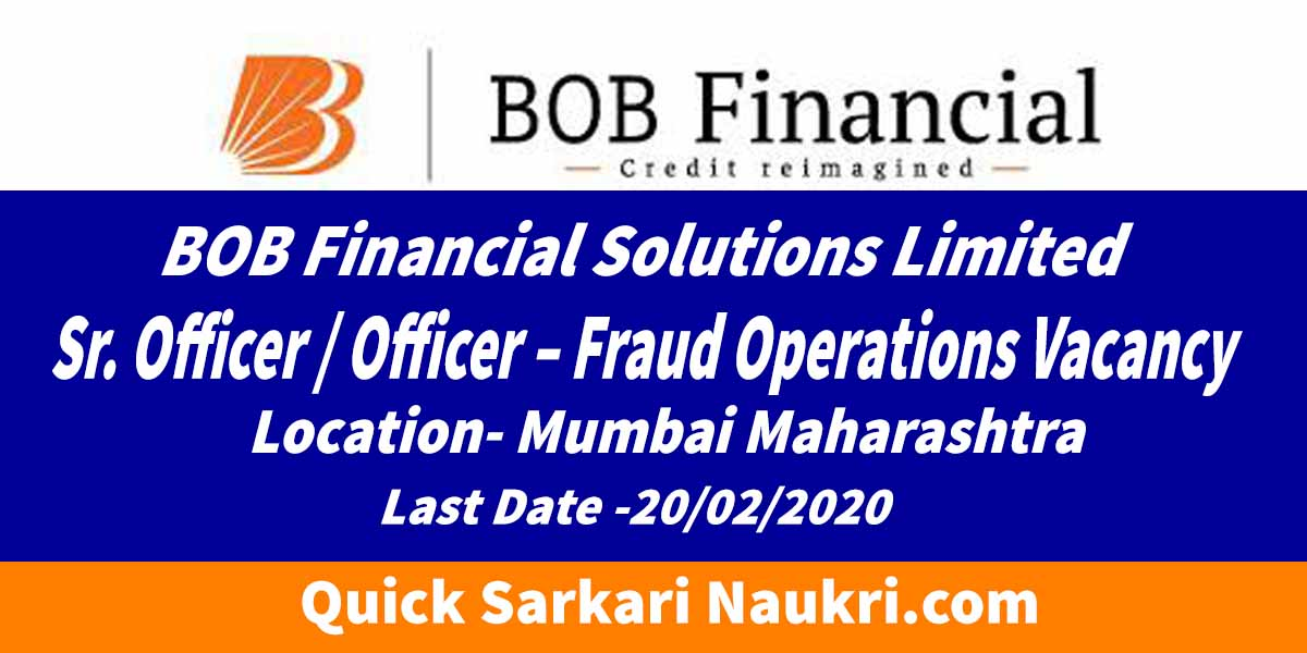 Sr. Officer / Officer – Fraud Operations Vacancy
