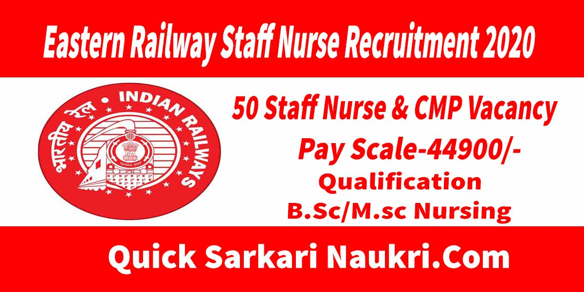 Eastern Railway Staff Nurse Recruitment 2020 Salary