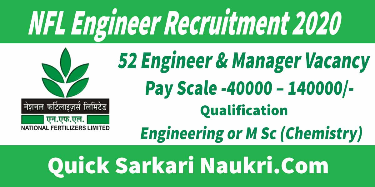 NFL Engineer Recruitment 2020 Sarkari Naukri