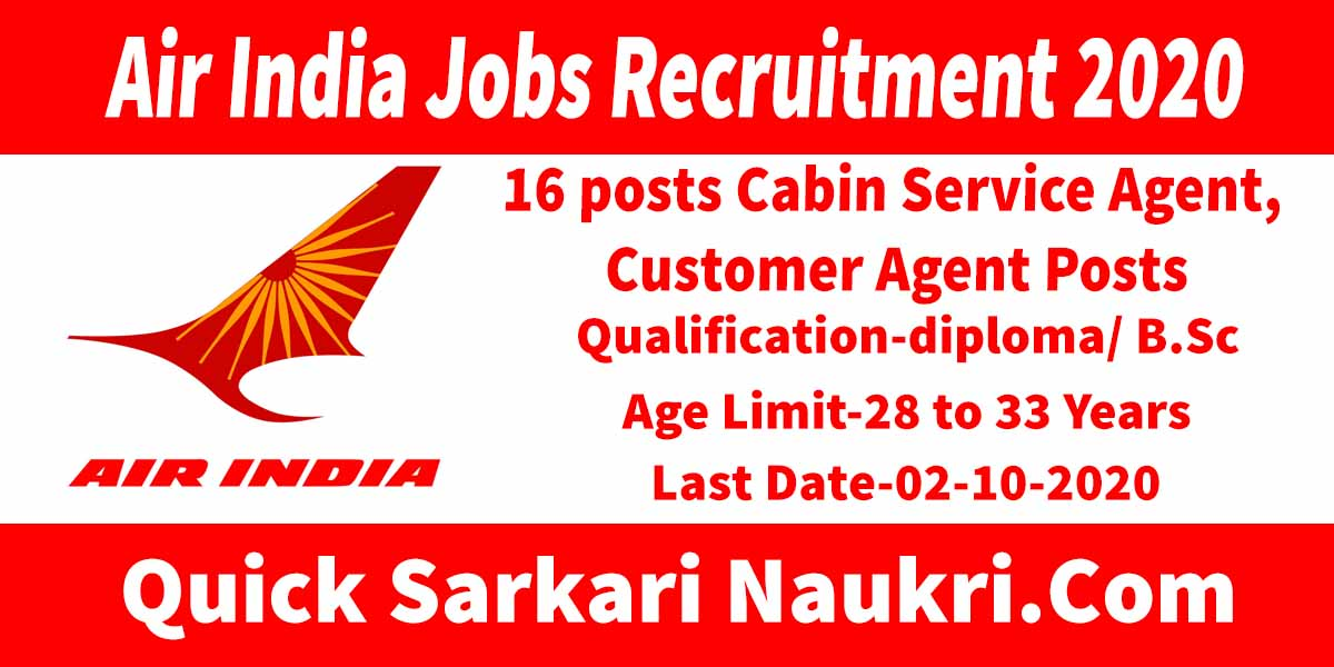 Air India Jobs Recruitment 2020