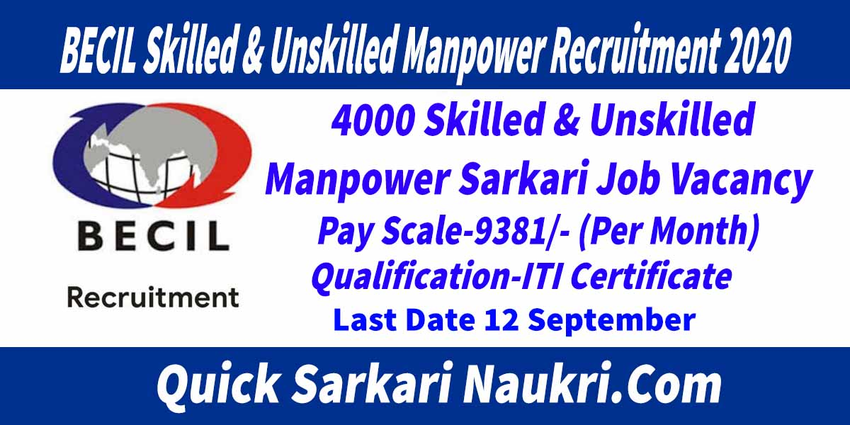 BECIL Skilled & Unskilled Manpower Recruitment 2020 Salary