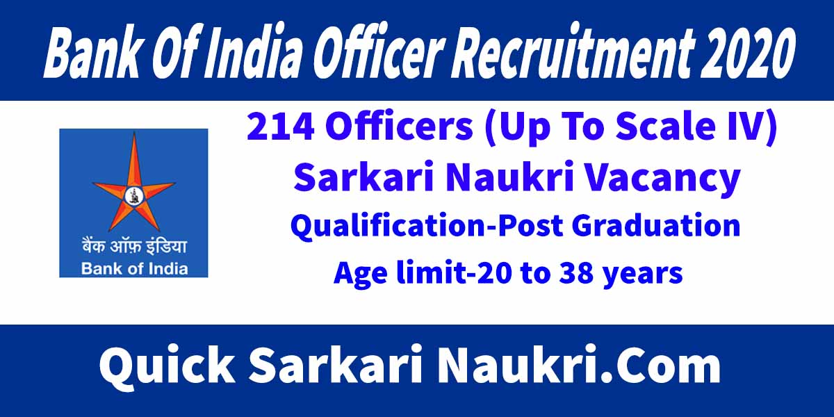 Bank Of India Officer Recruitment 2020 Salary
