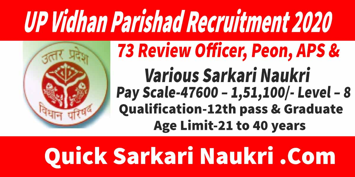 UP Vidhan Parishad Recruitment 2020 Salary