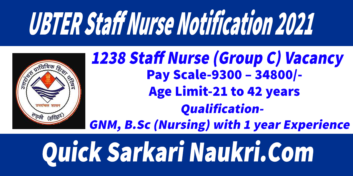 UBTER Staff Nurse Notification 2021