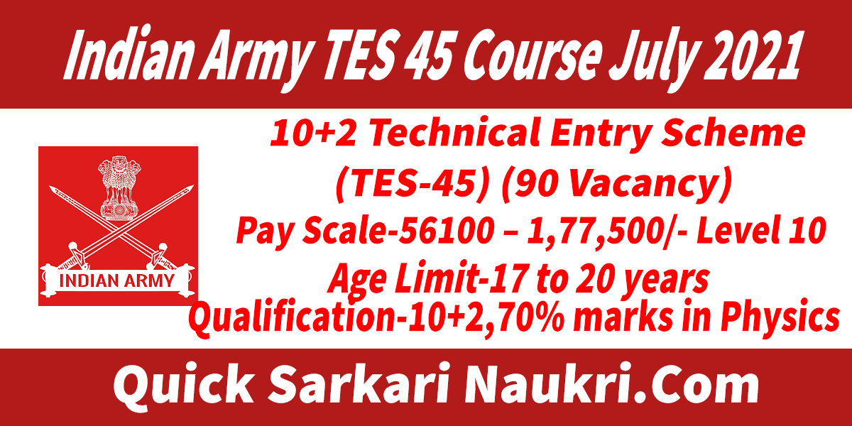 Indian Army TES 45 Course July 2021 Salary Full Details