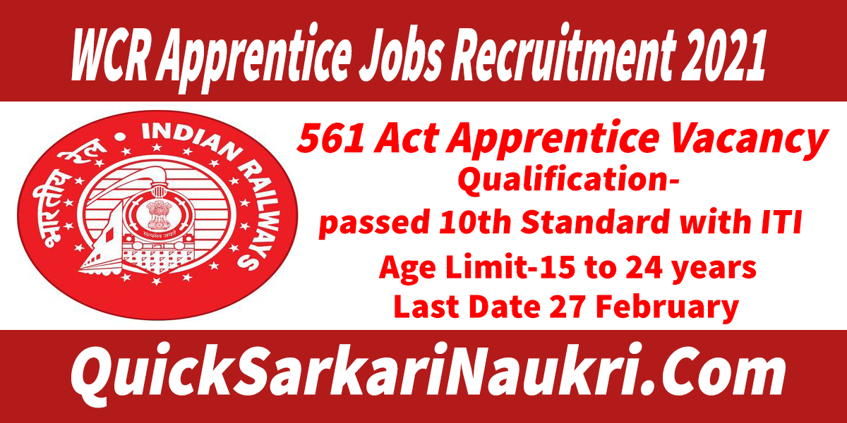 WCR Apprentice Jobs Recruitment 2021 Salary