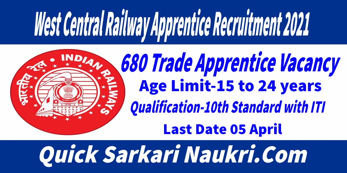 West Central Railway Apprentice Recruitment 2021
