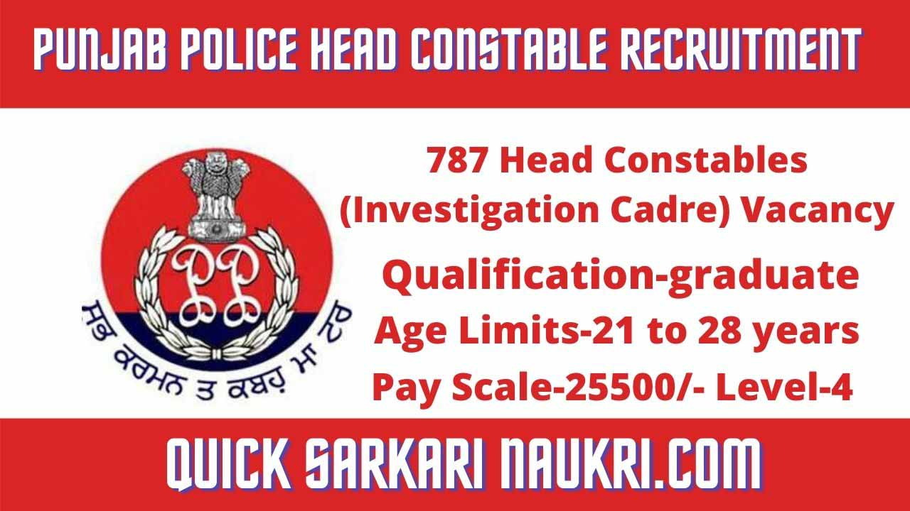 Punjab Police Head Constable Recruitment 2021 Salary